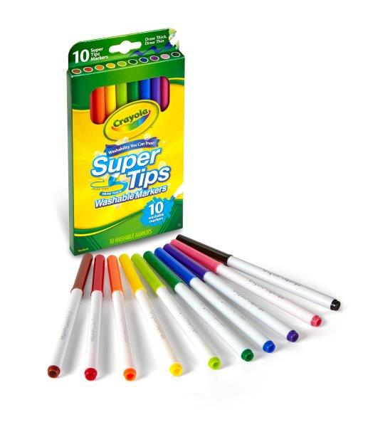 Washable Super Tips Fine Line Markers 10 カラーリングマーカー 10色