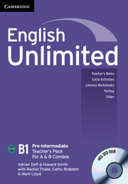 English Unlimited Pre-intermediate A and B Teacher\'s Pack (Teacher\'s Book with DVD-ROM)