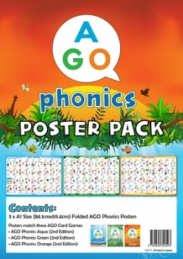 AGO Phonics 教室用ポスターセット (Level 1-3) Classroom Poster Set  (Level 1-3) [AGO カードゲーム]