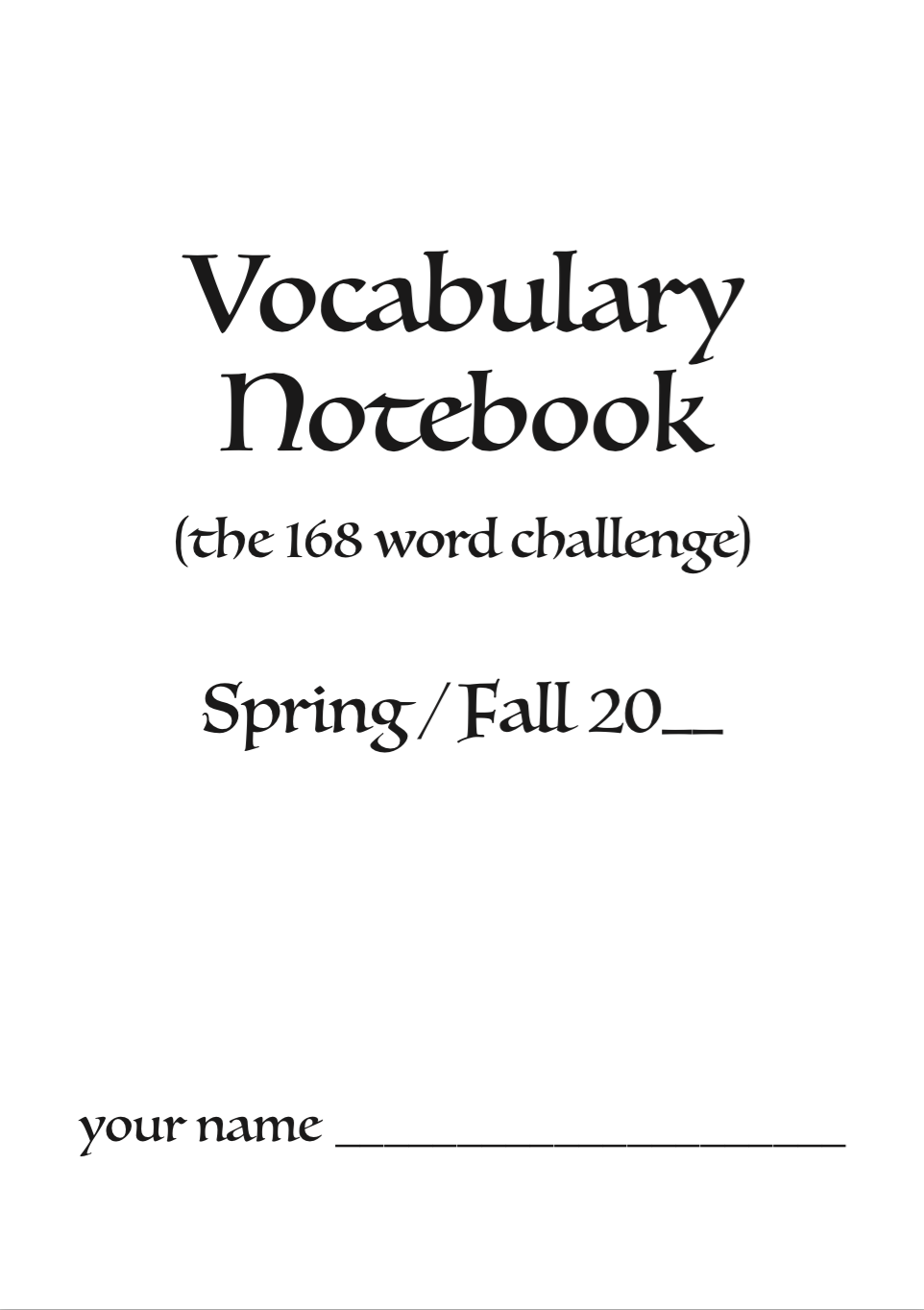 Vocabulary Notebook Preview